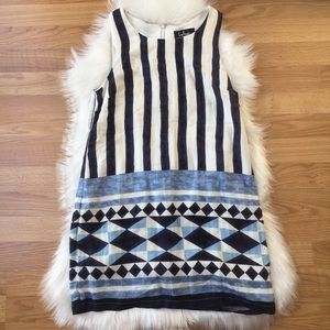NEW {Lulu's} Blue and White Patterned Shift Dress